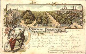 Hannover Herrenhaeuser Allee Tandem Fahrrad Litho Reichspost Kat. Hannover