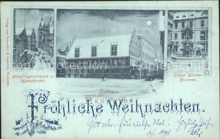 Hannover Koebelingerstrasse Marktkirche Rathaus im Mondschein Oskar ...