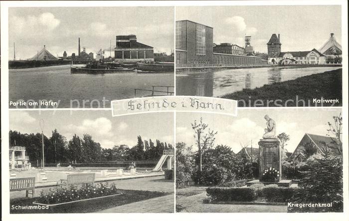 Sehnde Hafen Kaliwerk Schwimmbad Kriegerdenkmal Kat. Sehnde