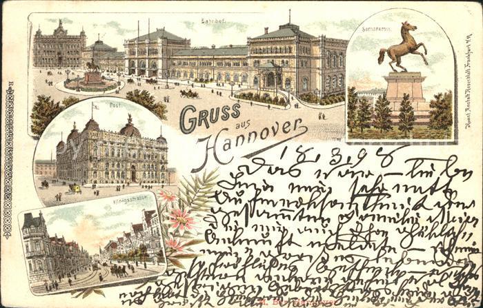 Hannover Ernst August Platz Denkmal Bahnhof Sachsenross Post Koenigsstrasse Kat. Hannover