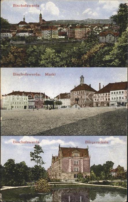 Bischofswerda Stadtblick Markt Buergerschule Kat. Bischofswerda