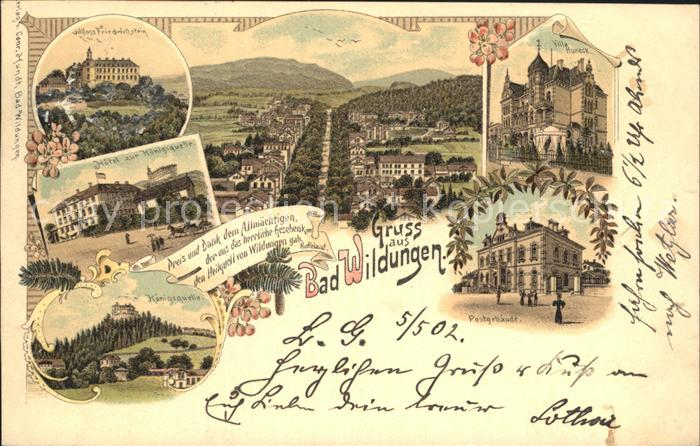 Bad Wildungen Schloss Friedrichstein Hotel zur Koenigsquelle Villa Huneck Postgebaeude Kat. Bad Wildungen