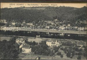 Krippen Bad Schandau mit Neu Schandau Postelwitz und Elbe Kat. Bad Schandau