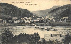 Krippen Bad Schandau Blick von Postelwitz Elbedampfer Kat. Bad Schandau