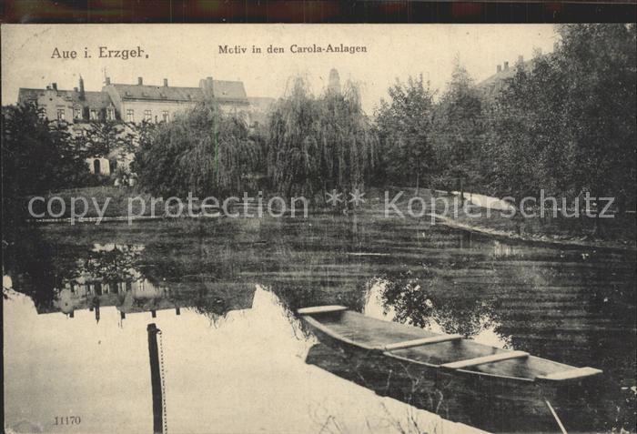 Aue Erzgebirge Motiv in den Carola Anlagen Gondelteich Kat. Aue
