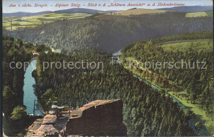 dp28876 Aue Erzgebirge Alpiner Steig Blick von der Schoenen Aussicht auf Hakenkr