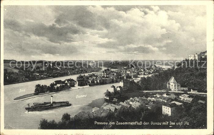 Passau Panorama mit Donau Inn und Ilz Dampfer Kat. Passau