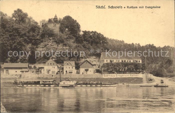 Rathen Saechsische Schweiz Gasthaus Erbgericht mit Burgruine  Kat. Rathen Sachsen
