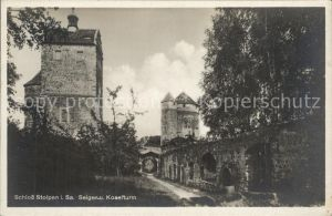 Stolpen Schloss mit Seiger  und Koselturm Kat. Stolpen