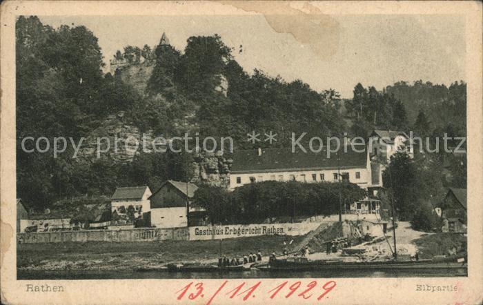 Rathen Saechsische Schweiz Elbpartie mit Gasthaus Erbgericht Rathen Kat. Rathen Sachsen
