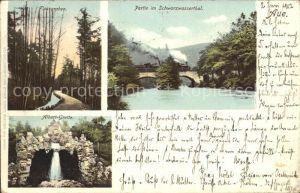 Aue Erzgebirge Flossgraben Eisenbahnbruecke im Schwarzwassertal Albert Grotte Kat. Aue