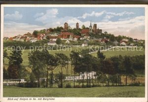 Stolpen Stadtblick mit Kirche und Schloss Kat. Stolpen