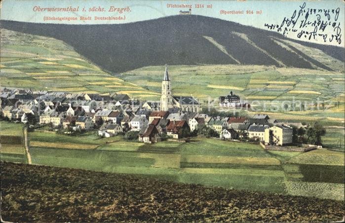 Oberwiesenthal Erzgebirge Ortsansicht mit Kirche Kurort Fichtelberg Kat. Oberwiesenthal