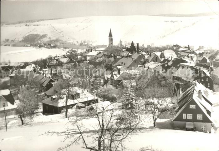 Oberwiesenthal Erzgebirge Ortsansicht im Winter Kat. Oberwiesenthal