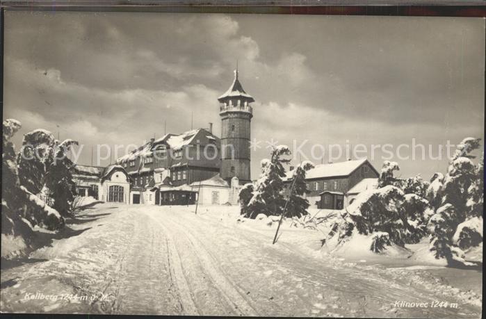 Oberwiesenthal Erzgebirge Keilberg Unterkunftshaus Aussichtsturm im Winter Kat. Oberwiesenthal