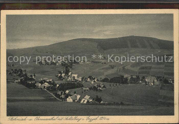 Oberwiesenthal Erzgebirge Panorama Boehmisch Wiesenthal Fichtelberg Kupfertiefdruck Kat. Oberwiesenthal