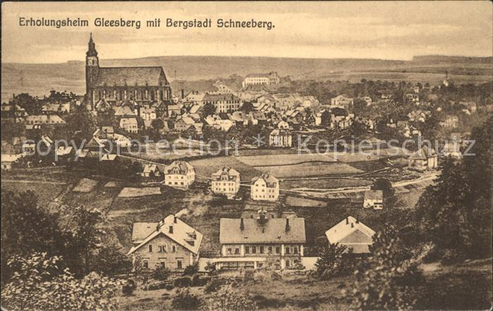Schneeberg Erzgebirge Erholungsheim Gleesberg mit Blick zur Bergstadt Kirche Bahnpost Kat. Schneeberg