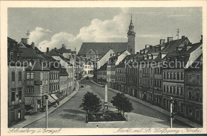 Schneeberg Erzgebirge Markt mit St Wolfgang Kirche Kupfertiefdruck Kat. Schneeberg