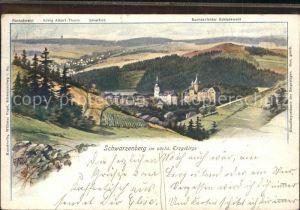 Schwarzenberg Erzgebirge Panorama Kuenstlerkarte G. Falk Kat. Schwarzenberg