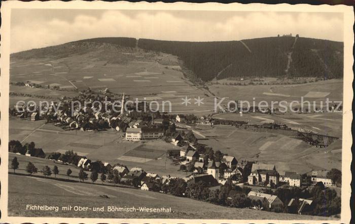 Oberwiesenthal Erzgebirge und Boehmisch Wiesenthal mit Fichtelberg Kat. Oberwiesenthal