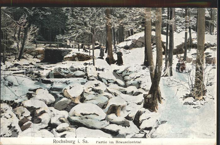 Rochsburg Partie im Brauselochtal im Winter Kat. Lunzenau