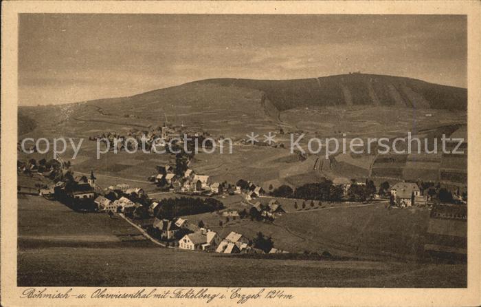 Oberwiesenthal Erzgebirge mit Boehmisch Wiesenthal und Fichtelberg Kupfertiefdruck Kat. Oberwiesenthal