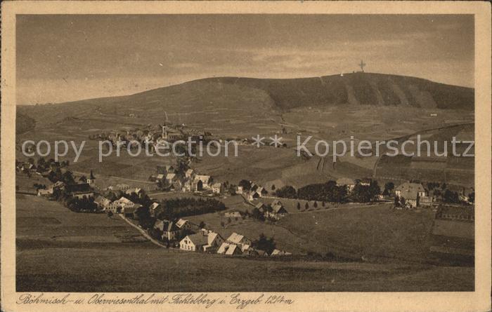 Oberwiesenthal Erzgebirge mit Boehmisch Wiesenthal und Fichtelberg Kat. Oberwiesenthal
