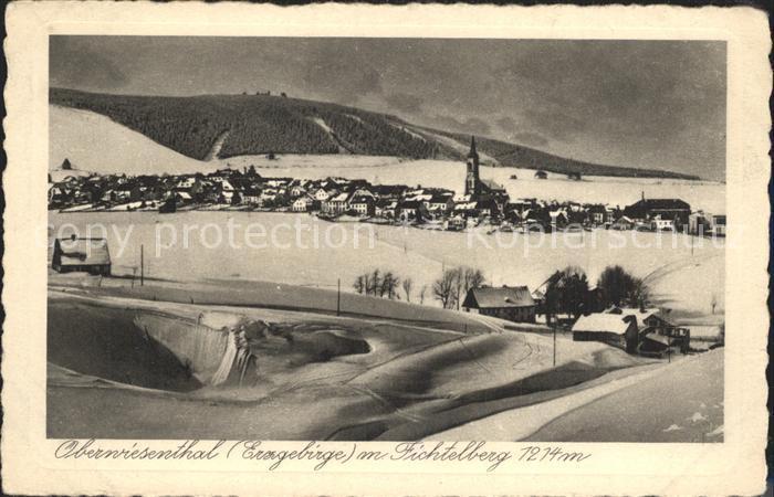 Oberwiesenthal Erzgebirge Winterpanorama mit Fichtelberg Kat. Oberwiesenthal
