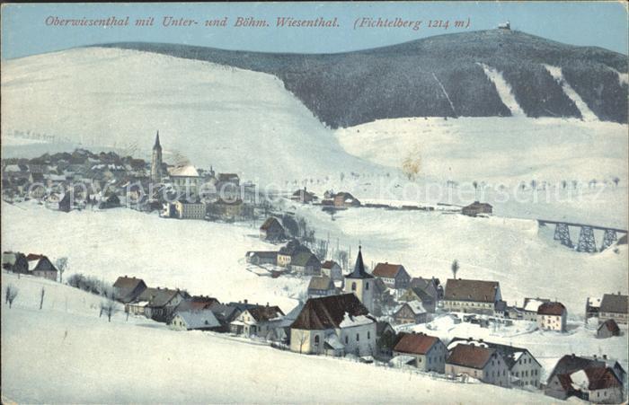 Oberwiesenthal Erzgebirge Winterpanorama Unterwiesenthal Boehmisch Wiesenthal Fichtelberg Kat. Oberwiesenthal