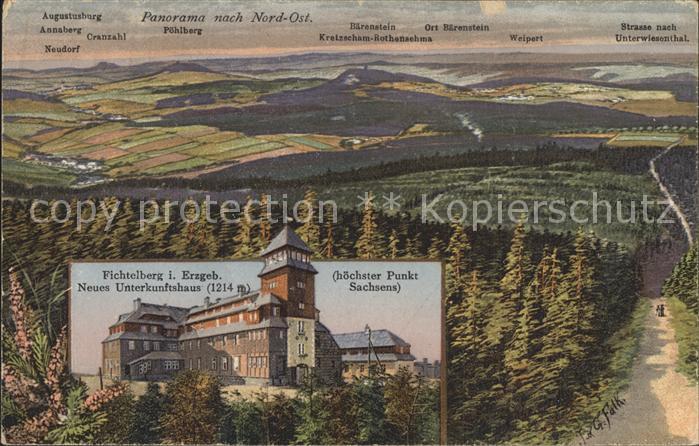 Oberwiesenthal Erzgebirge mit Poehlberg Baerenstein Unterwiesenthal Fichtelberg Unterkunftshaus Kat. Oberwiesenthal