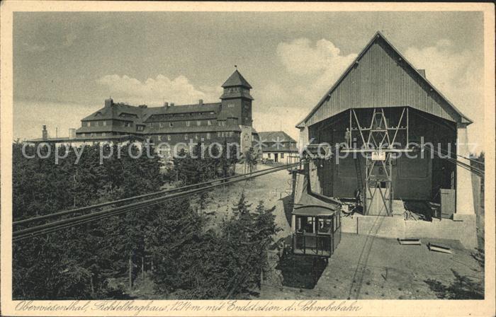Oberwiesenthal Erzgebirge Fichtelberghaus Endstation Schwebebahn Kat. Oberwiesenthal