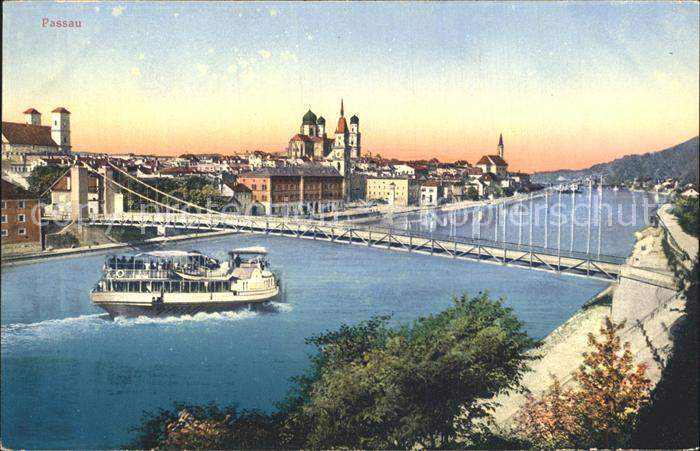 Passau Bruecke Dampfer  Kat. Passau