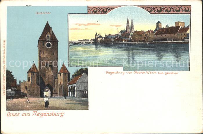 Regensburg Ostenthor Blick von der Oberen Woerth / Regensburg /Regensburg LKR