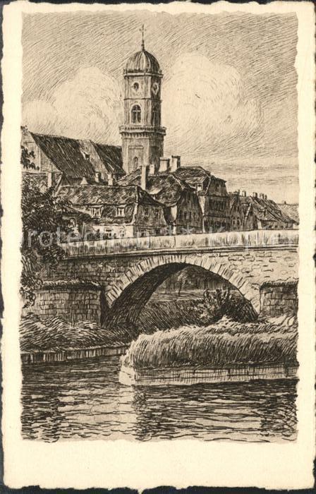 Regensburg Stadtamhof Steinerne Bruecke St Mangkirche Zeichnung Kuenstlerkarte HHK Karte Nr 2190 B / Regensburg /Regensburg LKR
