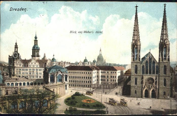 Dresden Blick von Webers Hotel Kat. Dresden Elbe