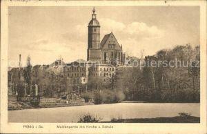 Penig Muldenpartie mit Kirche und Schule Kat. Penig