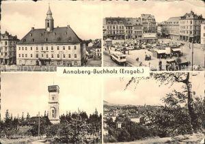 Annaberg Buchholz Erzgebirge Marktplatz Rathaus Aussichtsturm Kat. Annaberg