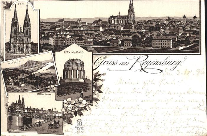 Regensburg Dom Total Walhalla Befreiungshalle Eiserne Bruecke / Regensburg /Regensburg LKR