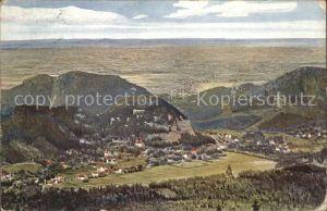 Oybin Panorama Blick vom Hochwald nach Zittau Kuenstlerkarte Serie Hochwald No 1798 A Kat. Kurort Oybin