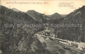 Oybin Blick von der Teufelsmuehle in das Oybiner Tal Zittauer Gebirge Kat. Kurort Oybin