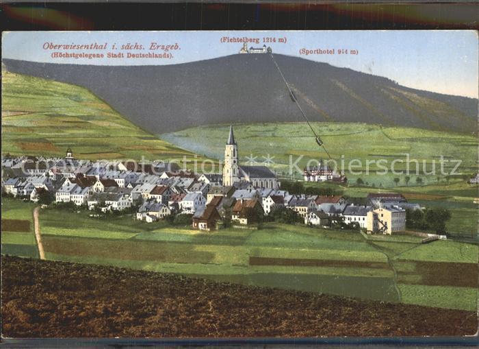 Oberwiesenthal Erzgebirge Ortsansicht mit Kirche Sporthotel Fichtelberg Fichtelberghaus Kat. Oberwiesenthal