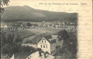 Oybin Blick von den Kirchstufen auf den Hochwald Hotel Engelmann Kat. Kurort Oybin