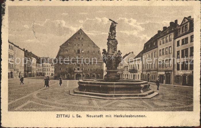 Zittau Neustadt mit Herkulesbrunnen Kat. Zittau