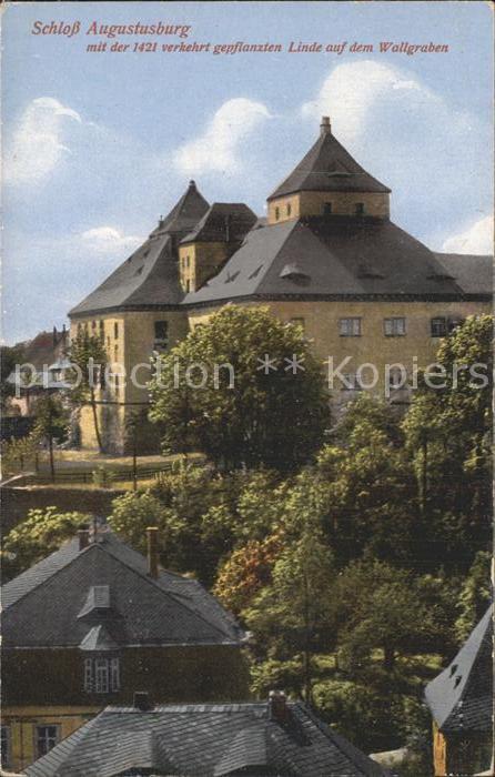 Augustusburg Schloss mit alter Linde Kat. Augustusburg