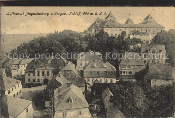 Augustusburg Ortsansicht mit Schloss Luftkurort Kat. Augustusburg