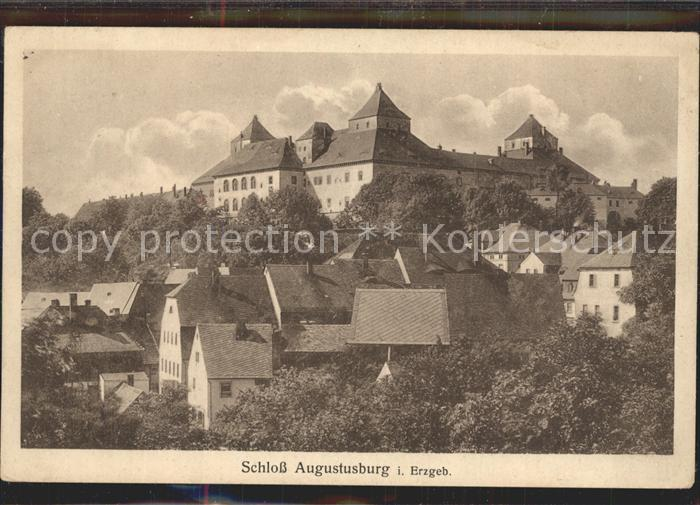 Augustusburg Ortsansicht mit Schloss Kat. Augustusburg