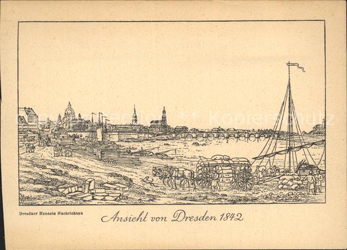 Dresden Ansicht von Dresden 1842 Kat. Dresden Elbe