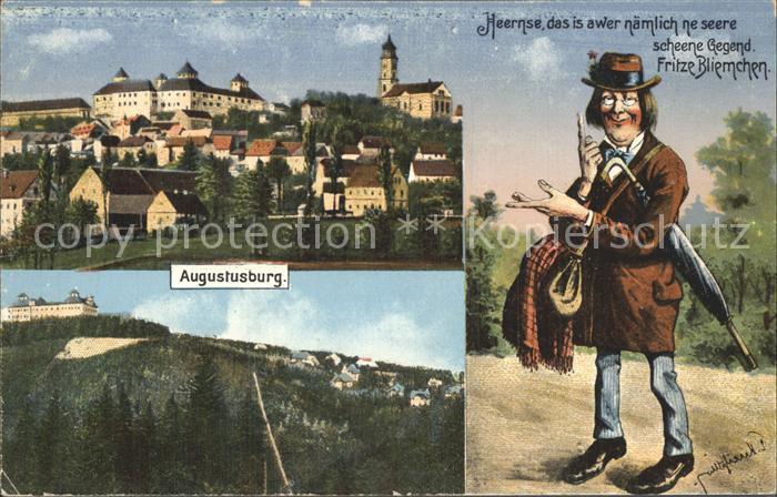 Augustusburg Teilansicht mit Schloss und Kirche Fritze Bliemchen Karikatur Kat. Augustusburg