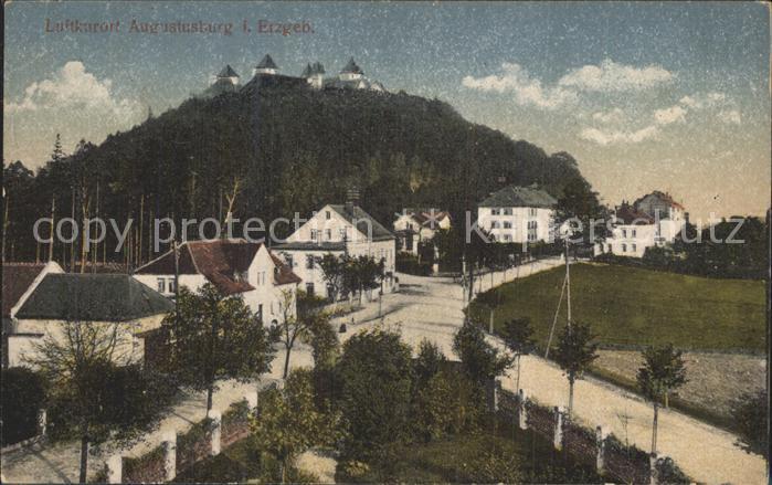 Augustusburg Teilansicht mit Schloss Luftkurort Kat. Augustusburg