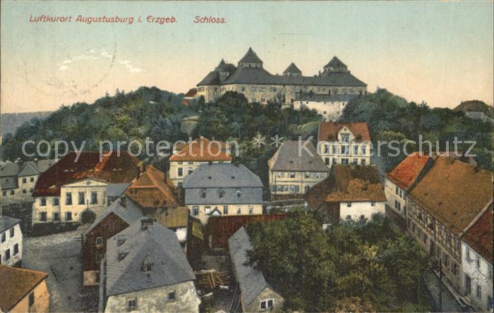 Augustusburg Teilansicht Luftkurort mit Schloss Kat. Augustusburg
